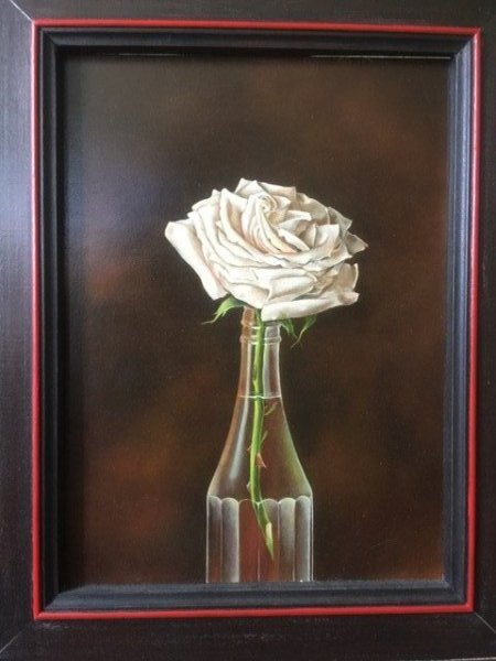"Judith Lamb, White Rose in Bottle, 9"" x 12"""