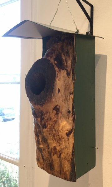 "John Virga, Log Facade Bird Home, 14"" x 7"" x 20"""