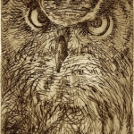 "Doug Jamieson, Great Horned Owl, 3"" x 4"""