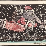 "Joseph Kurhajec, Babar Christmas, 13.5"" x 10.5"""