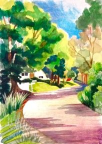Joan Dworkin, Road from Delhi, watercolor with cray pas
