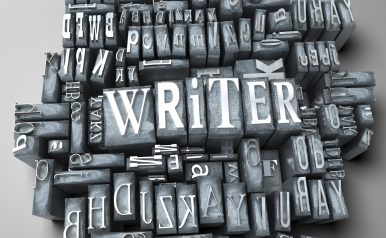 The word writer in print letter cases
